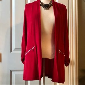 Beautiful red size 1 Chico's velvety cardigan